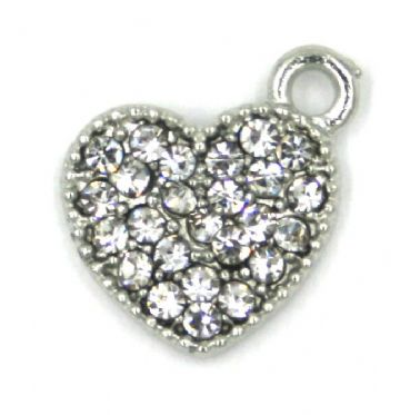14mm x 14mm Off centre crystal studded heart charm